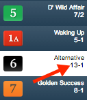 Live odds will also appear under each horse's name in the left navigation.
